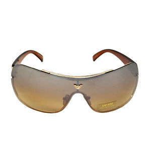 Unisex Fashion Designer Eyewear Oversize Shield Sunglasses 3010 Brown