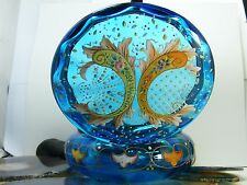 "Vintage Gem Blue Glass Enamel Flowers 5 1/2"" POWDER BOX Vanity jar Brass Lid"
