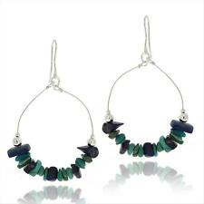 925 Silver Denim Lapis & Lab Created Turquoise Chips Earrings