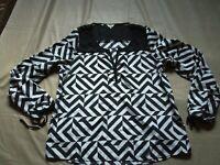 Guess Women's XL Black & White Geometric Printed Long Sleeve Sheer Inset Top