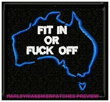 FIT IN OR F$#K OFF! - AUSTRALIA MAP BIKER PATCH