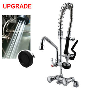 """MaxSen Commercial Faucet Wall Mount Kitchen Sink Pre-Rinse Sprayer 25"""" Height"""