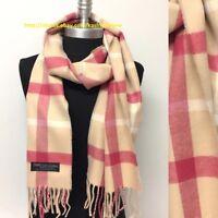 New Women's 100% CASHMERE SCARF Check Plaid Beige/Berry Scotland Warm SOFT Wrap