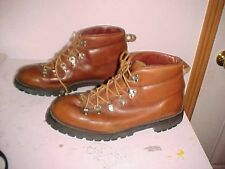 Mens All Leather Mountaineering Hiking Boots, Brown Leather, Size 10 1/2 D