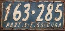 Old Photo. 1955 Cuba Vehicle Passenger License Plate '163-285'