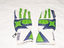 Motor bike summer, leather gloves, Kawasaki colours white, blue and green