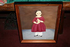 Original Creepy Oil Painting-Victorian Girl Holding Doll-Signed Grace L. Borden