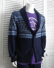NEW Mens SIZE XXL 2XL ALPACA Navy Blue Shawl Collar Cardigan Pattern Sweater