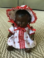 """1930s Black Composition Doll 10"""" African American Painted Face- Braided Hair"""
