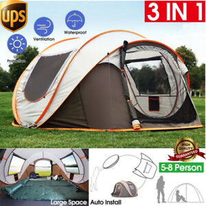 5-8 Person Instant Pop-Up Camping Tent Khaki Waterproof Automatic Family Shelter