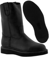 Men's All Black Leather Oil Slip Resistant Durable Work Boots Style Pull On