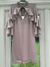 Lipsy Ruffle Sleeved Dress With Jewel Encrusted Neckline Size - 10 New With Tags