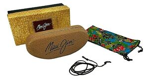 Maui Jim Sunglass Hard Clamshell Case With EMPTY BOX Strap Cloth Cover Unused