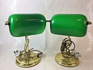 Gibson Lighting Green Glass Desk Lamp, Traditional Bankers Desk Lamp Set of 2