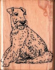Stamp Cabana ~ AIREDALE TERRIER SM ~ Wood Mounted Rubber Stamp Pets Animals