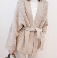 Women Loose Cardigan Sweater Waist Belt Thicken Knitting Wool Blend Formal Chic