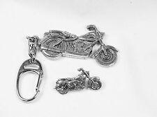 Motorbike Pin and Keyring set, English Pewter