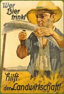 Bier trinken hilft Landwirtschaft Blechschild Schild Tin Sign 20 x 30 cm FA0542