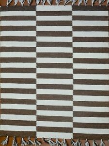 4' x 6' Rug | Hand Dhurrie  Wool White Brown Area Rug