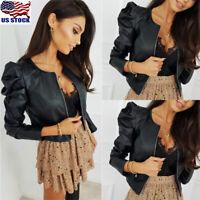 Women Faux Leather Jacket Coats Zip Up Casual Biker Short Punk Tops Outerwear US