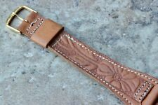 Long Western Leather 1-pc watch strap Genuine Calfskin stitched & embossed 18mm