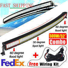 "Curved 52""  500W Work LED Light Bar Fog Driving DRL SUV 4WD Boat Truck Offroad"