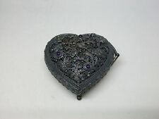 New ListingGems Tv Victoria Heart Sterling Silver & Amethyst & Marcasite Pill / Trinket Box