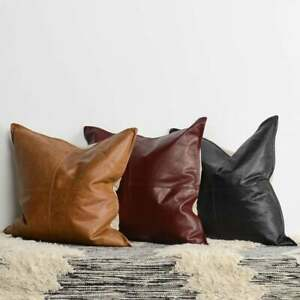 GENUINE LEATHER MORDEN LOOK CUSHION COVERS SOFT leather PILLOW CASE SIZE 16x16