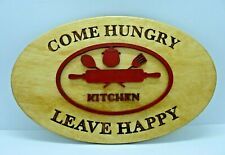 """Kitchen """"Come Hungry Leave Happy"""" Art Wall Decor Signs  Kitchen Wood plaques"""