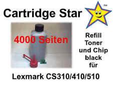XL Refill Toner und Reset Chip black für Lexmark CS310 CS410 CS510 (4000 Seiten)