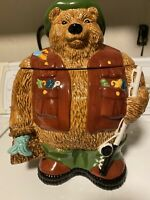 Clay Art Ceramic Cookie Jar - Field and Stream Bear - 1997