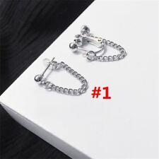 Women Long Tassel Clip on Silver Earrings Chain Lady Ear Stud Punk Style2017 1