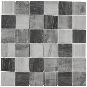 Modern Uniform Squares Grey Glass Mosaic Tile Backsplash Kitchen Wall MTO0336