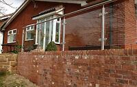 Polished Stainless Steel Glass Balustrade / balcony / bannister /Garden railings