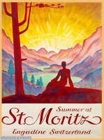 306761 Summer at St. Moritz Switzerland Swiss Suisse Travel PRINT POSTER CA