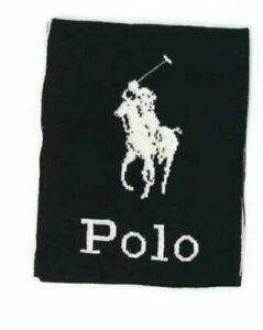 Polo Ralph Lauren Pony Logo Men's Jacquard Wool Blend Scarf Black OS NEW $75