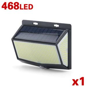468 LED PIR Motion Sensor Wall Light Solar Power Waterproof Outdoor Garden Lamp