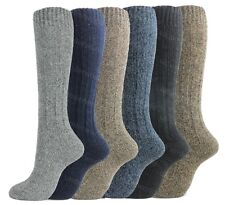 6 Pairs Mens Long Length Thermal Boot Socks Wool Blend Long Hose Cushioned Sole