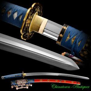 Tachi Samurai Sword Katana Pattern Steel Clay Tempered Kogarasu-Maru Blade #3031