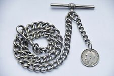 ANTIQUE GRADUATED ALBERT POCKET WATCH CHAIN + 1913 SILVER COIN FOB