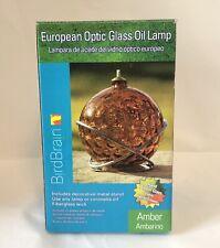 "Nib 4"" Art Glass European Optic Oil Lamp The Bird Brain Made in Poland Amber"