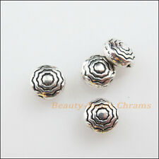 35Pcs Tibetan Silver Tone Round Flower Flat Spacer Beads Charms 5.5mm