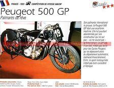 PEUGEOT 500 GP ( Grand Prix ) 1923 Fiche Moto 000228