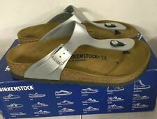 NEW - Birkenstock Gizeh BS Thong Sandals Silver 38 7 7.5 M W hollow-footprint