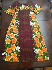 Ui-Maikai Vintage Hibiscus Barkcloth Maxi Dress Hawaiian 1960's *