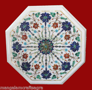 """18"""" Marble Side End Table Top Semi Precious Stone Lapis Inlay Home Decor"""
