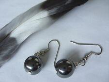 Trendige 11 mm Hämatit Blutstein Ohrringe Ohrhänger Earrings m.Edelstahl Haken