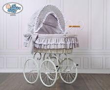 My Sweet Baby Retro Stubenwagen Nostalgiestubenwagen Weide XXXL Grau Weiß TÜV