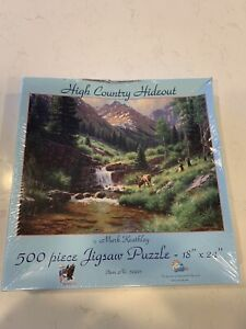 HIGH COUNTRY HIDEOUT ~ 500 PC. SUNSOUT PUZZLE, ART BY MARK KEATHLEY, NEW, SEALED
