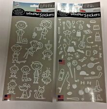 Auto Car Family Window Stickers Decals Peel & Stick Set of 2 (NEW)